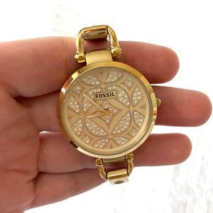 Women's Gold and Crystal Fossil Watch